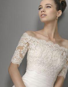 White Ivory Bride Wraps Bolero Shawl Shiny Lace 2015 Pearls Bead Wedding Jacket | eBay
