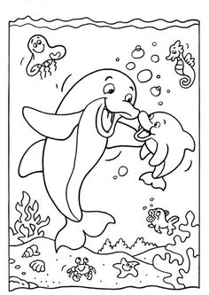 Free & Easy To Print Dolphin Coloring Pages - Tulamama Dolphin Coloring Pages, Summer Coloring Pages, Coloring Sheets For Kids, Cute Coloring Pages, Animal Coloring Pages, Free Coloring, Coloring Pages For Kids, Coloring Books, Kids Coloring