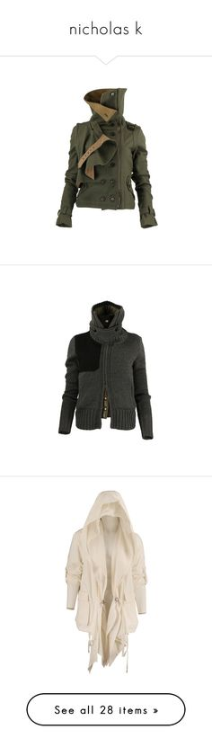 """""""nicholas k"""" by aries-ariessw-sw ❤ liked on Polyvore featuring outerwear, jackets, coats, tops, wool jacket, utility jacket, woolen jacket, sweaters, cardigans and vest tops"""