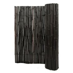 """~ $65 - 100 @ home depot for different size rolls of bamboo fencing, either natural or ebony. Don't seem to get taller than 6' so might go sideways, and get one as """"tall"""" as the balcony is wide, then roll it down and hang it to fill the gap at the side, for each side. One roll of 4'x8' is $70, so it'd be about $140 for both sides of the balcony, plus the tension bars to hang this from. Backyard X-Scapes 6 ft. H x 8 ft. W x 1 in. D Stained Mahogany Rolled Bamboo Fence-HDD-BF20 at The Home…"""