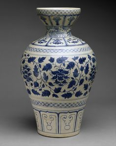 Meiping Date:14th century Culture:Vietnam Medium:Stoneware with underglaze cobalt blue decoration Dimensions:H. 16 5/8 in. (42.2 cm); Diam. 4 3/4 in. (12.1 cm) Classification:Ceramics Credit Line:Gift of Betty and John R. Menke, 1991 Met 1991.456.12