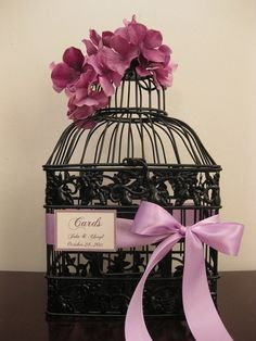 Black Bird Cage Wedding Card Holder With by SouthburyTreasures, $40.00