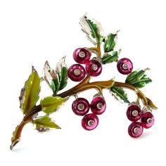 DUJAY Glass Berry Brooch - Vintage DU JAY 1940s Enamel Rhinestone Fruit Leaf Pin