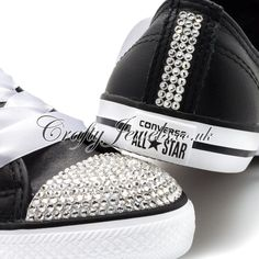 Dainty Lo Top Crystal Converse in Black Leather