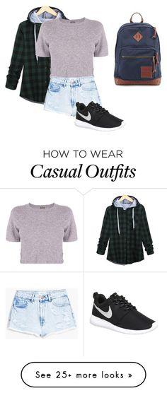 """Casual"" by iifluffyunicornii on Polyvore featuring Monrow, MANGO, NIKE, JanSport, women's clothing, women's fashion, women, female, woman and misses"