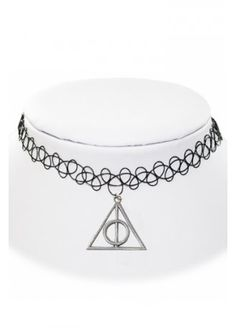 EXTREME LARGENESS DEATHLY HALLOWS CHARM TATTOO CHOKER