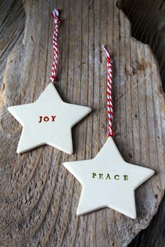 Handmade Star Ornament by Ceramic Artist Tasha McKelvey. Hand stamped. Perfect as a gift or for hanging on your Christmas tree. Also great as a decorative piece year-round. About 2.5 inches across. Ac