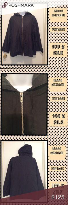 🎀VINTAGE🎀New Item🎀Isaac Mirahzi🎀 Great condition, sleek, classy in 100% silk Isaac Mirahzi light weight jacket. Hood, 2 side pockets, zipper pull. Isaac Mizrahi Jackets & Coats