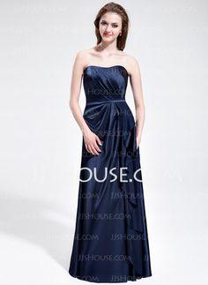 Bridesmaid Dresses - $118.99 - Sheath Sweetheart Floor-Length Charmeuse Bridesmaid Dress With Ruffle (007025354) http://jjshouse.com/Sheath-Sweetheart-Floor-Length-Charmeuse-Bridesmaid-Dress-With-Ruffle-007025354-g25354