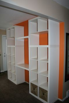 ikea hack - expedit bookcases  I could use this in the family room or library