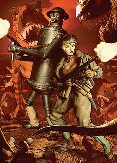 The steampunk robot Boilerplate, and dieselpunk anti-heroine Barbarossa, fight off T-Rex dinosaurs with MP-40 machine guns on a lava planet....