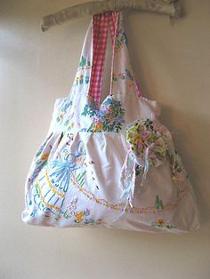 Vintage Embroidered linen bag.  This is perfect, I have the same embroidered pillow cases!