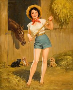 Pin-Up Girl On the Farm Cocker Spaniel Puppy Dogs Horse Poster Print Art Pin Up Vintage, Earl Moran, Horse Posters, Girl Posters, Gil Elvgren, Pin Up Girls, Cowgirl Pictures, Pin Up Pictures, Farmer's Daughter