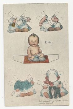 Scarce Antique Postcard Baby Paper Doll Cut Out Unused | eBay
