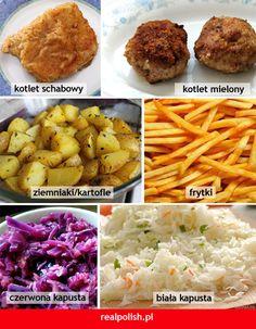 Polish vocabulary - Food Learn Polish, Polish Language, Birthday Dinners, English Vocabulary, Grammar, Ethnic Recipes, Food, Ideas, Speech Language Therapy
