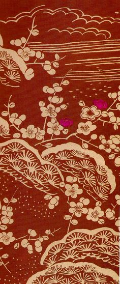 Japanese Textile - Japanese Plum & pine Trees - two of the symbols of good luck