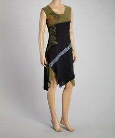 Look what I found on #zulily! Black & Green Arabesque Sleeveless Dress - Women by Coline USA #zulilyfinds
