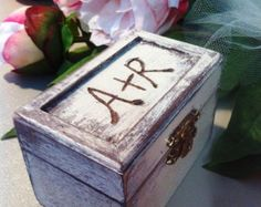 Darling, hand painted & distressed RING BEARER BOX box, which will be perfect to hold your rings that special day.
