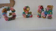 Letras flores preservadas