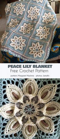 Crochet afghans 383791199497529840 - Peace Lily Blanket Free Crochet Pattern Source by bernadetteremon Crochet Quilt, Crochet Blocks, Crochet Squares, Free Crochet, Crochet Afghans, Crochet Blankets, Granny Squares, Crochet Square Patterns, Crochet Blanket Patterns
