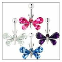 Wish | 1Pcs 14G Dragonfly belly ring 316L surgical steel Sexy navel button ring for Women Body Piercing jewelry