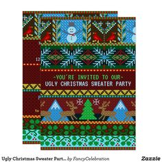 Ugly Christmas Sweater Party Fun Knitted Reindeer Invitation Tacky Sweater, Ugly Christmas Sweater, Christmas Party Invitations, Create Your Own Invitations, Party Fun, Christmas Knitting, Scandinavian Christmas, Best Part Of Me, Holiday Fun
