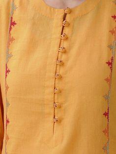 Mustard Hand-Embroidered Cotton Mul Kurta with Slip (Set of 2 Salwar Neck Designs, Churidar Designs, Kurta Neck Design, Neckline Designs, Kurta Designs Women, Dress Neck Designs, Blouse Designs, Kurti Sleeves Design, Sleeves Designs For Dresses