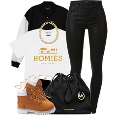 A fashion look from November 2014 featuring TIBI jackets, J Brand jeans and Timberland boots. Browse and shop related looks.