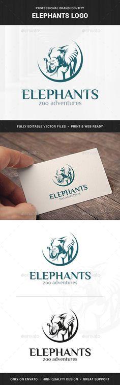 Elephants Logo Template - Animals Logo Templates