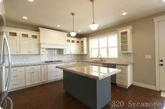 320 Sycamore's kitchen:  White dove cabs, revere pewter walls, giallo ornamental granite.