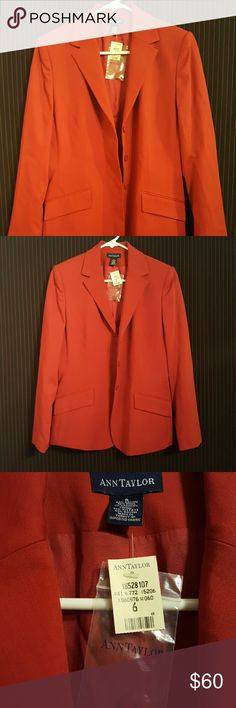 ??NWT Ann Taylor BLAZER?? Red hot Ann Taylor blazer New With Tags!!....includes 2 front pockets and 3 button enclosure!! Size 6 Made from imported fabrics. Ann Taylor Jackets & Coats Blazers