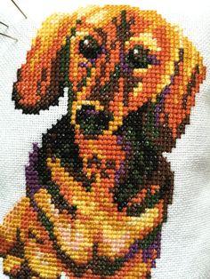 Vintage Dachshund Decor Pillow Cross Stitch by NellysLittleGifts
