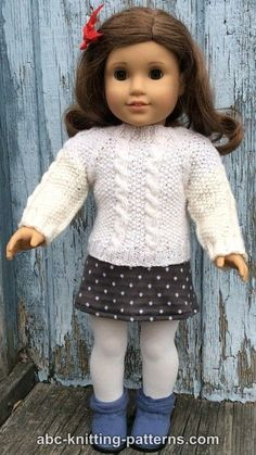 Crochet Doll Sweater Pattern Free American Girls Ideas For 2019 Knitted Doll Patterns, Doll Dress Patterns, Knitted Dolls, Knitting Patterns, Crocheting Patterns, Knitting Ideas, Knitting Projects, Knitting Dolls Clothes, Crochet Doll Clothes