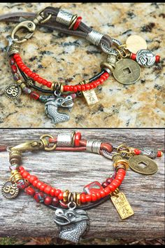 Red Glass, Black, Gold and Leather Mixed Media Dragon Charm Bracelet Tribal Bracelets, Red Jewelry, Silver Dragon, Bone Carving, Red Glass, Gold Leather, Black Gold, Exotic, Mixed Media