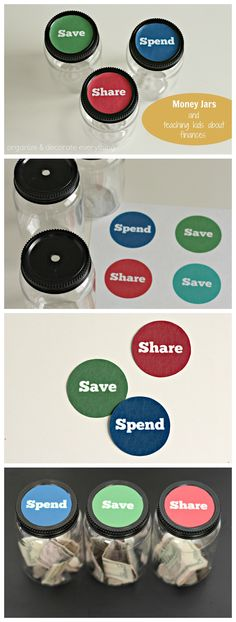 Money jars and teaching kids about finances - Organize and Decorate Everything collage #moneyjars #finances
