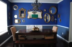 I like the wall of mirrors... good idea for one of my dining room walls