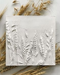 Botanical bas-relief of Ears for kitchen and dining room wall decor. Farmhouse plants wall sculpture in bedroom. Plaster Crafts, Plaster Art, Dining Room Wall Decor, Wall Art Decor, Glue Art, Do It Yourself Inspiration, Creation Deco, Gifts For Nature Lovers, Flower Doodles