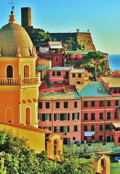 Colourful buildings of Vernazza, Italy by Christene Roseberry     ᘡղbᘠ