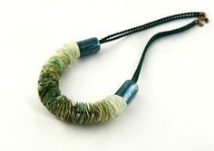 Necklace - Silk Marbles - FREE SHIPPING- OOAK, porcelain beads, emarald  and green color