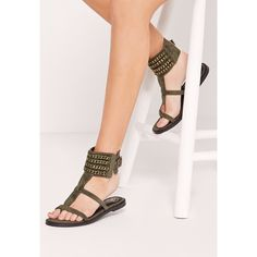 Missguided Woven Chain Ankle Cuff Sandals ($48) ❤ liked on Polyvore featuring shoes, sandals, khaki, summer shoes, evening shoes, ankle cuff shoes, beach footwear and special occasion sandals