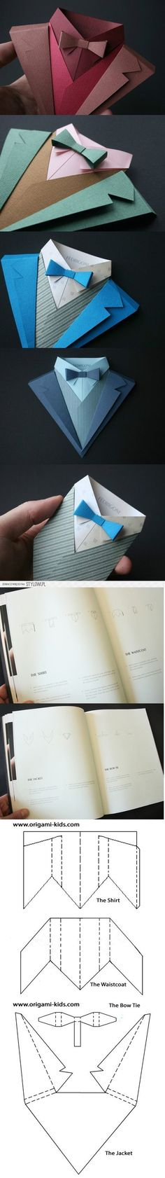 Paper shirt - great for weddings and parties - origami diy Origami Paper, Diy Paper, Paper Art, Paper Crafts, Origami Shirt, Easy Origami, Origami Ideas, Hobbies And Crafts, Diy And Crafts