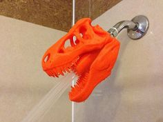 Ever have trouble waking up in the morning? Try enlivening your showering experience with the one and only 3D Printed T-Rex Shower Head!