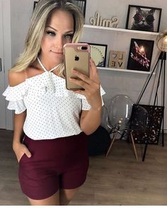 Short Outfits, Summer Outfits, Cute Outfits, Pants Outfit, Work Wear, Casual Dresses, Ideias Fashion, Dress Up, Ruffle Blouse