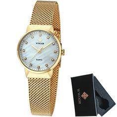 6c93b9a2557 Barato Wwoor gold watch mulheres relógios moda casual relógio de quartzo  pulseira de malha de aço