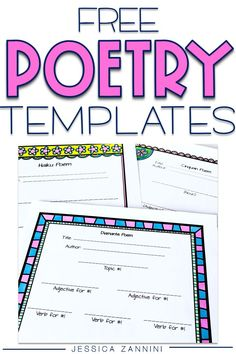 Use these poetry templates to help students learn the format of certain styles of poetry.  These are great additions to literacy centers and your writing workshop.  Templates include - haiku, diamante, cinquain and more.