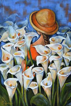 Acrylic painting of Arum Lillies and a young girl.