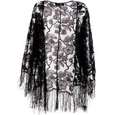 Pussycat Lace Kimono with fringe (€21) ❤ liked on Polyvore featuring outerwear, jackets, cardigans, kimono, tops, black, clearance, lace jacket, lace kimono and fringe jacket