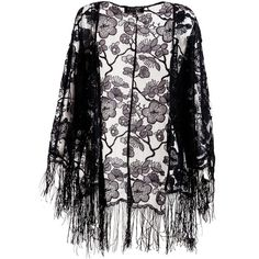 Pussycat Lace Kimono with fringe (29 PAB) ❤ liked on Polyvore featuring outerwear, jackets, cardigans, kimono, tops, black, clearance, black kimono jacket, black lace kimono and black jacket