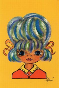 Vintage Ansichtskarte siebziger Jahre Big eyed von CuteEyeCatchers