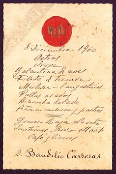 Menú manuscrit, s.n., s.l., 8 de desembre de 1900